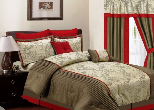 8 Pcs Rust Taupe Luxury Comforter Set Selena Collection Queen King front-932427