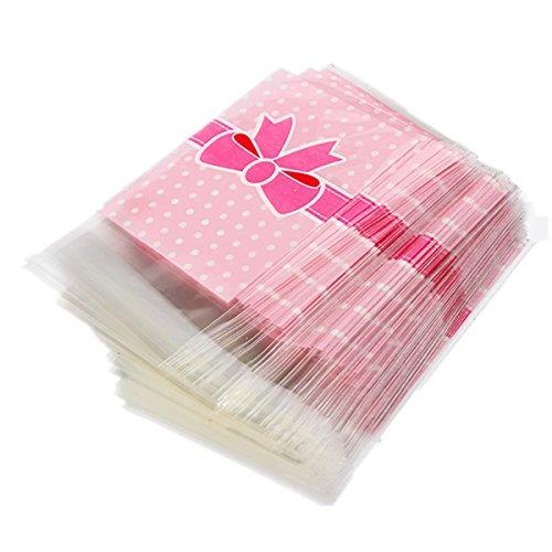 KINGSO 100 X Sac Sachet Pochette De Bonbons Biscuit En Plastique Noeud A Deux Boucles-Rose