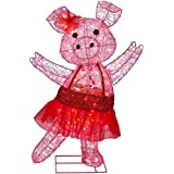 """Christmas 32"""" Lighted Pink Acrylic Pig Ballerina Red Festive Tutu Indoor Outdoor Decoration"""