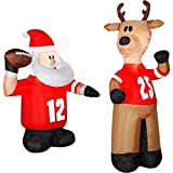 CHRISTMAS INFLATABLE FOOTBALL SANTA AND REINDEER 2 PC SET OUTDOOR AIRBLOWN YARD PROP