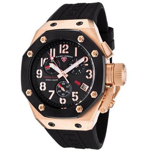 Swiss Legend Men's 10541-RG-01-BB Trimix Diver Collection Chronograph Black Rubber Watch