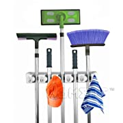 Home- It Mop and Broom Holder, (5-position) Wall Mounted Garden Tool Storage Tool Rack Storage & Organization for the Home Plastic Hanger for Closet Garage Organizer Shed Organizer Basement Storage General Storage