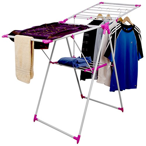 evelots folding laundry drying rack portable clothes hanging storage system pink home garden. Black Bedroom Furniture Sets. Home Design Ideas