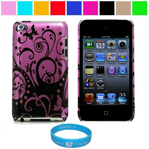 Durable Purple Swirl Design Two Piece Front and Back Protective Hard Shell Crystal Cover Case for Apple iPod Touch 4th Generation + SumacLife TM Wisdom Courage Wristband, Purple Swirl