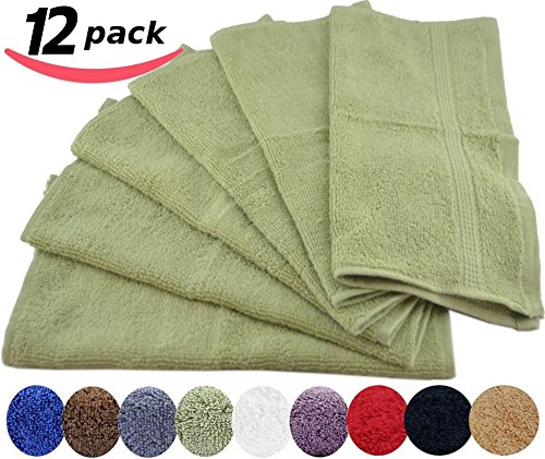 luxury cotton washcloths 12 pack sage green 12x12 inches easy care fingertip towels. Black Bedroom Furniture Sets. Home Design Ideas