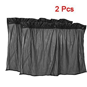 SODIAL(R) 2 Pcs Suction Cup Black Mesh Window Curtains Car Sun Shade 50 cm x 75 cm