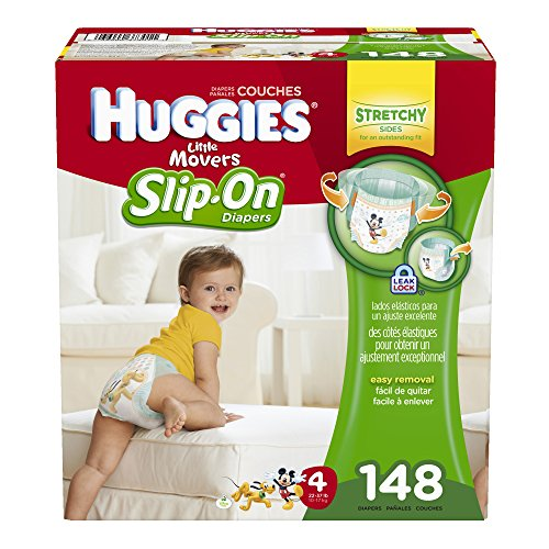 Huggies Little Movers Slip-On Diapers, Size 4, 148 Count