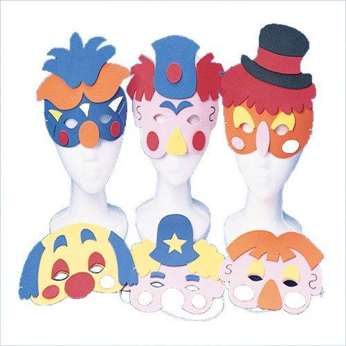Lot of 12 Assorted Clown Theme Half Foam Masks
