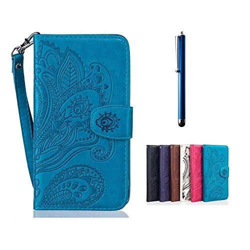 HTC-One-M10-Ledertasche-MUTOUREN-Schutzhlle-Handyhlle-Brieftasche-Case-mit-Stnder-HalterKartenfcher-fr-HTC-One-M10-Premium-Ledertasche-Gepresste-Blumen-Painted-Pattern-Hlle-Handy-Case-Dnne-Tasche-Cove