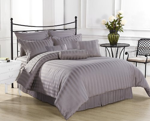 Sale Royal Calico 7pc Comforter set Damask Stripe 100% Cotton 350