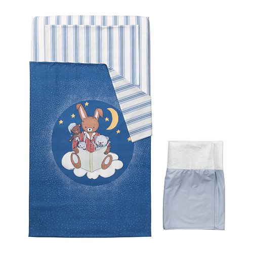 (4) Piece Baby's Crib Linen Gift Set ~ (1) Medium Blue Duvet with the Moon, Stars, Bear & Bunnies, (1 Ea) Blue Striped Sheet & Matching Pillowcase & (1) Pale Blue Crib Skirt - 1