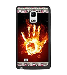 PrintDhaba Flamming Hand D-4643 Back Case Cover for SAMSUNG GALAXY NOTE 4 EDGE (Multi-Coloured)