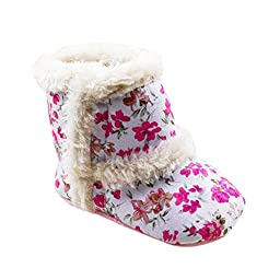 Weixinbuy Infant Baby Girl Floral Winter Warm Thick Snow Boots Shoes S