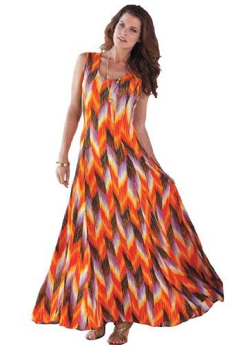 Roamans Women'S Plus Size A Line Crinkle Maxi Dress (Multi Print,3X)