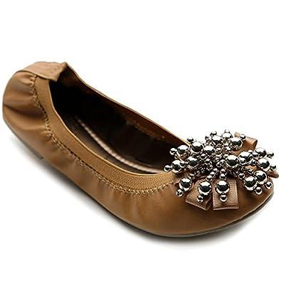 Ollio Women's Ballet Shoe Soft Cute Silver Bead Accent Flat(6 B(M) US, Tan Brown)