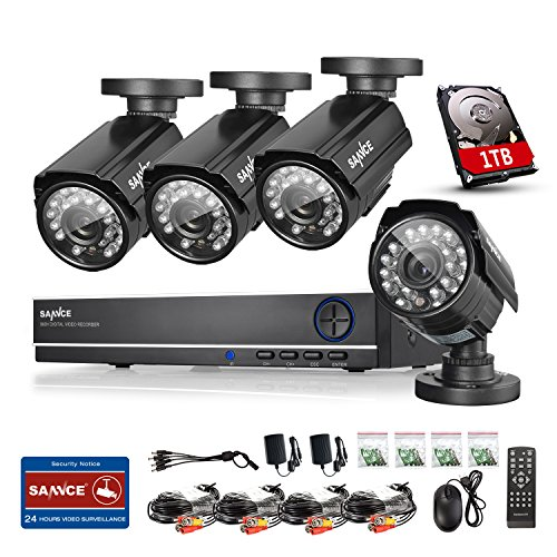Find Discount Sannce 8CH Full 960H Security DVR & 1TB Hard Drive Home Security System + 4 HD CCTV Bu...