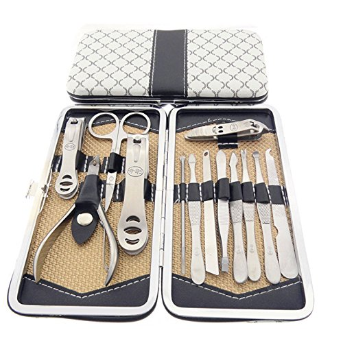 Belle 13 in 1 Professional Nail Care Personal Manicure & Pedicure Set,for Thick Hard Nails, onychomycosis, ingrown Nail, paronychia,White,Ship from UK