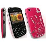 EMARTBUY BLACKBERRY 8520 CURVE / 9300 CURVE 3G HOT PINK FLOWERS SUPER SLIM CLIP ON PROTECTION CASE/COVER/SKIN + SCREEN PROTECTORby EMARTBUY