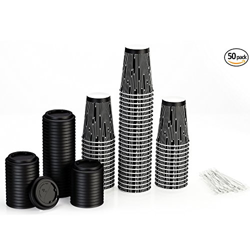 Disposable Coffee Cups with Lids and Stirrers (50 pack) - 12 oz Insulated Paper Cups with Accessories - Stylish Beverage Cups in Elegant Design perfect for Hot Cold Drinks (Paddle Art Design, 12oz) (Disposable Hot Beverage Dispenser compare prices)