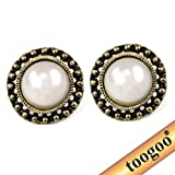 TOOGOO(R) Bohemian Vintage Large Faux Pearl Stud Earrings White Sun Flower Art Deco