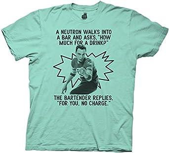 The Big Bang Theory Neutron Walks Into A Bar Tahiti Blue/Green Mens T-shirt (Adult Small)