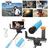 Adjustable Extendable Wireless Bluetooth Monopod Handheld Self Portrait Selfie Stick with Remote Shutter Function for iPhone 6/6 Plus, iPhone 4/4s, iPhone 5/5s/5c, Samsung S3/S4/S5/NOTE3/NOTE4, Blackberry, HTC, Sony, Nokia, LG (Blue)