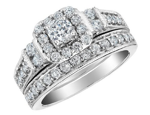 Diamond Engagement Ring & Wedding Band Set 1.0 Carat (ctw) in 10K White Gold, Size 7 $799.00