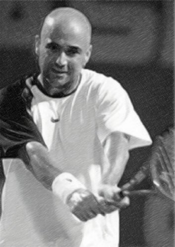 ANDRE AGASSI - Original Art Print (A4 - Signed by the Artist) #js002