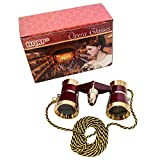 3 x 25 Opera Glass Binocular Burgundy with Gold Trim w/ Necklace Chain with Red Reading Light by HQRP plus Coaster