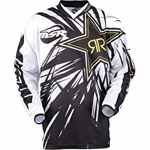 MSR Racing Rockstar Men's MotoX Motorcycle Jersey - White/Black / Medium