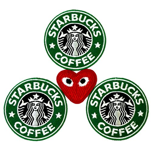 [Lot of 3 Starbucks Embroidered Iron On Patch and 1 PLAY COMME des GARCONS Patch] (Last Minute Diy Toddler Halloween Costumes)