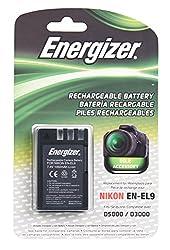 Energizer ENB-NEL9 Digital Replacement Battery EN-EL9 for Nikon D3X D40 D40X D60 D3000 and D5000 (Black)