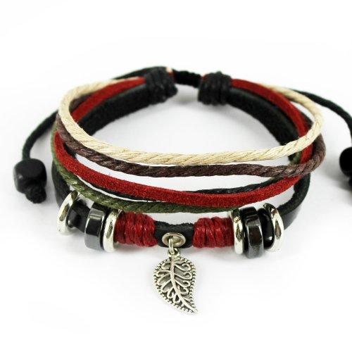 Wild Wind Multi Strand Metal Leaf Pendant Zen Style Leather Wrist Wrap Bracelet