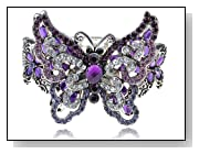 Purple Amethyst Clear Crystal Rhinestone Butterfly Insect Bracelet Bangle Cuff