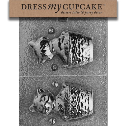 Dress My Cupcake DMCA021 Chocolate Candy Mold, 3D Cat In A Basket