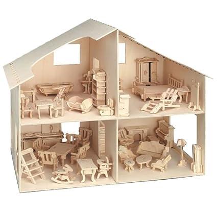 Maison de poupées en bois avec meubles support Lot à monter soi-même en contreplaqué Idéal Fée Maison brut Naturel