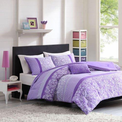 Beautiful 4 Pc Modern Purple White Grey Floral Dots Girls Comforter Set W Pillow front-997652
