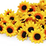 Generic 100x Artificial Gerbera Daisy Flowers Heads for DIY Wedding Party (Yellow Sunflower)
