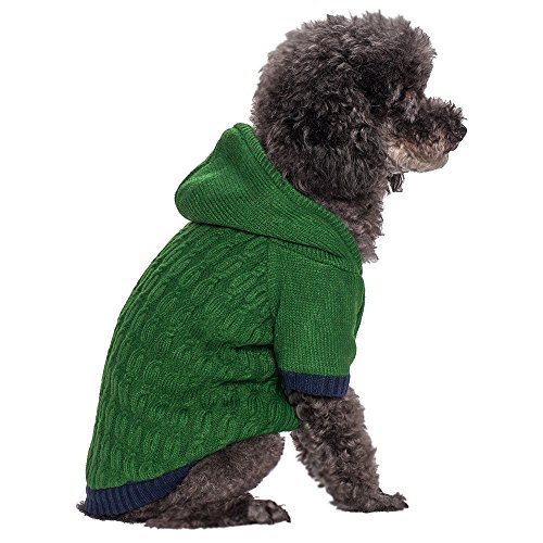 Blueberry Pet 12-Inch Twist Cable Knitted Fleece Hooded Pull Over Sweater For Dogs, Medium, Sea Green front-931044