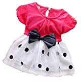 Toddler Baby Girls Princess Party Bubble Sleeve Bowknot Dot Tulle Dress