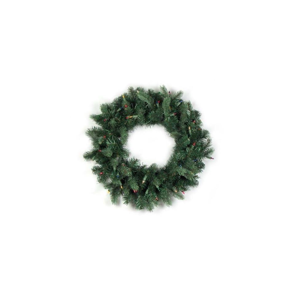 24 Pre lit Natural Frasier Fir Artificial Christmas Wreath   Multi Lights