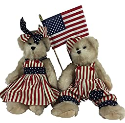 Patriotic Dressed Girl and Boy Bears and American Flag Holiday Decoration Accessory and Gift - Memorial Day, Flag Day, Fourth of July, Labor Day