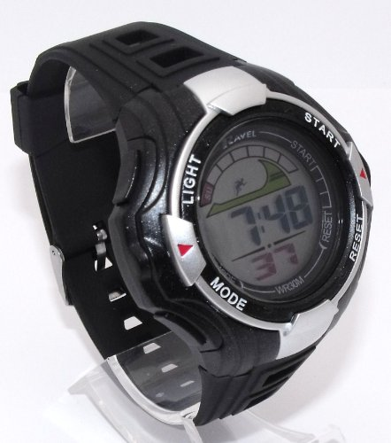 Mens Digital LCD Chronograph Sports Watch - Gift Boxed - Multi Functional- 15-22cm Strap - 3ATM (a)