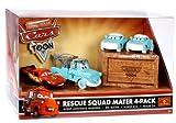 Disney Pixar Cars Toon Rescue Squad Mater 4 Pack with Burnt Lightning McQueen, Dr Mater, Nurse Mia and Nurse Tia