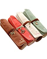 New Cute 4pcs Different Colors of Pastorable Roll up Canvas Pen Bag Pencil Case Bag Cosmetic Makeup Bag Pouch Pocket for Girls Boys Students Women Lady