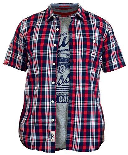 Camicia a scacchi da Frankie Combo New Duke D555-Maglietta a maniche corte da donna, stile Casual, in cotone Navy Red Check Large