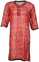 Anshul Textile Women's Georgette Regular Fit Kurta (Red)