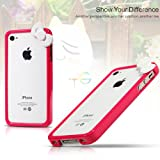 K9Q Cute Kitty Cat Bowknot Bumper Style Frame Skin Case Cover For Apple iPhone 4 4S Red