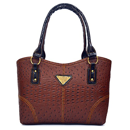 Inkdice Premium Australian Ostrich Brown Handbag for Women