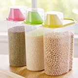 Shopo's 3 Pcs Cereal Dispenser Jar Set Of 3 Idle For Kitchen- Storage Box Lid Food Rice Pasta Container